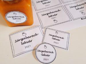 Letölthető címke sárgabarack lekvárra